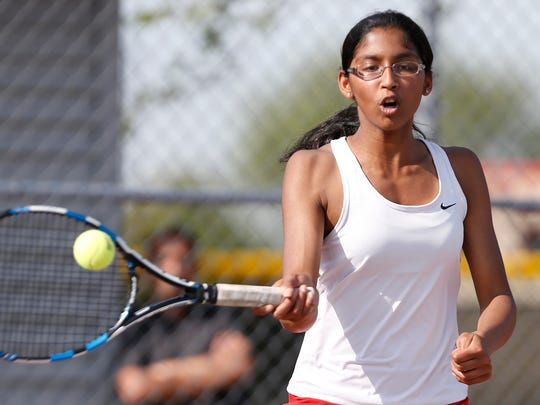 Pooja Tudi won at No. 1 singles to help the Red Devils defeat Plymouth Saturday.