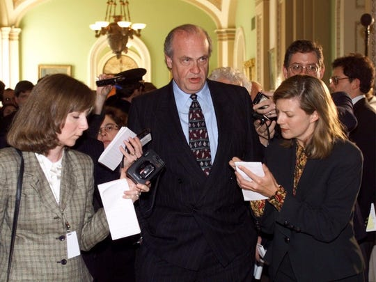 Sen. Fred Thompson, R-Tenn. talks to reporters on Capitol Hill Thursday, Jan. 7, 1999 after attending the ceremonial opening of the Senate's impeachment of President Clinton.