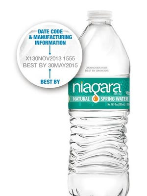 """Customers can look for """"best by"""" codes on bottles of spring water to determine if it's part of the recall."""