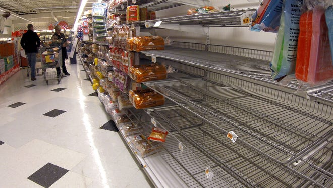 Some variaties of bread were sold out at the A&P in the Brick Plaza Monday morning, January 26, 2015.    BRICK, NJ   SNOWSTORM0126F   ASB 0126 Weather  STAFF PHOTO BY THOMAS P. COSTELLO