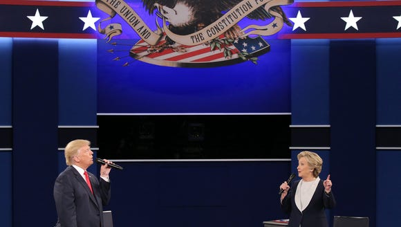Donald Trump and Hillary Clinton take part in the second