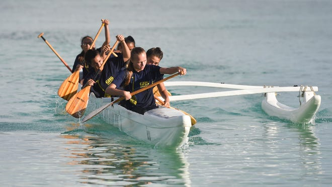 In this May 13, 2017, file photo, the Guam High Panthers compete during the Independent Interscholastic Association of Guam and the Guam Kayak and Canoe Federation Paddling Series 1000-meter finals at Matapang Beach.