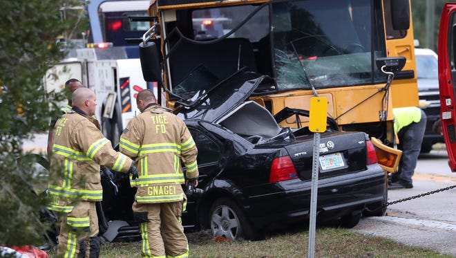 Law enforcement is on the scene of a fatal crash involving a school bus.  The driver of a passenger vehicle was killed and the bus driver was transported to Lee Memorial. The incident occurred on Buckingham Road on the morning of Friday, Dec. 9, 2016.