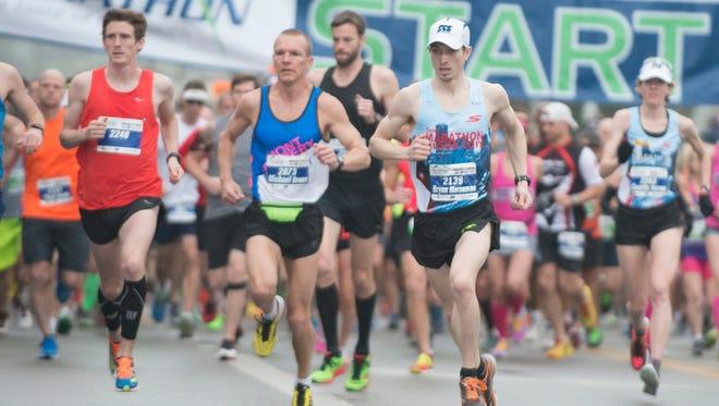 Bryan Morseman runs in the Montgomery Marathon on Saturday, March 14, 2015, in Montgomery, Ala. Morseman finished first place in the Marathon.
