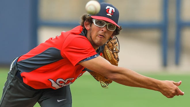 Tupelo Christian pitcher Austin Laney delivers against Ethel in Game 1 of the Class 1A championship series at Trustmark Park  in Pearl on Tuesday.