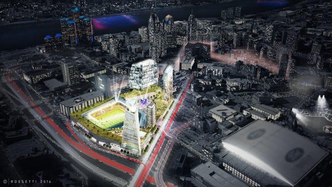 Renderings of possible MLS stadium in Detroit.