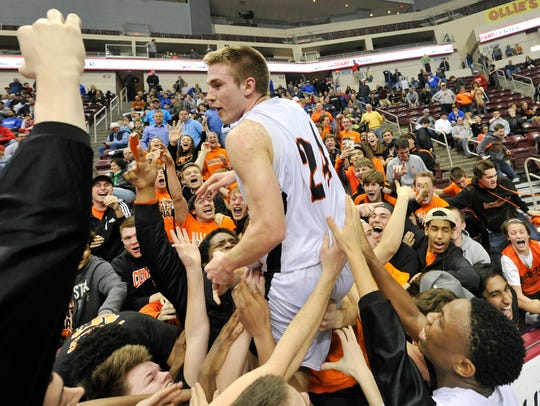 Central York High School's Jared Wagner celebrates