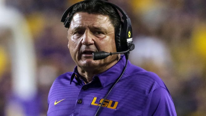 LSU Tigers head coach Ed Orgeron against the Syracuse Orange during the second quarter of a game at Tiger Stadium.