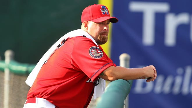 Tim Redding in the bullpen at Falcon Park, home of the Class A Doubledays, in 2014.