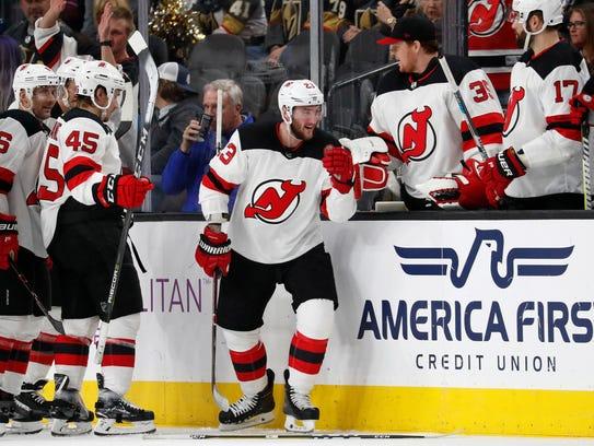 New Jersey Devils right wing Stefan Noesen (23) celebrates