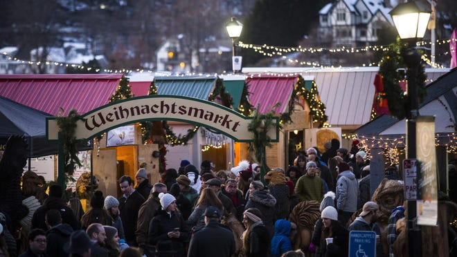 Thousands gather in and around White Deer Plaza in Sparta to browse the German Christmas Market Saturday, December 7, 2019, in Sparta.