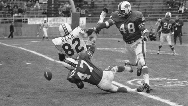 Defensive back John Pitts (48) was the first Bills draft choice in the inaugural common draft in 1967. He compiled eight picks across seven seasons as a safety for the Bills.