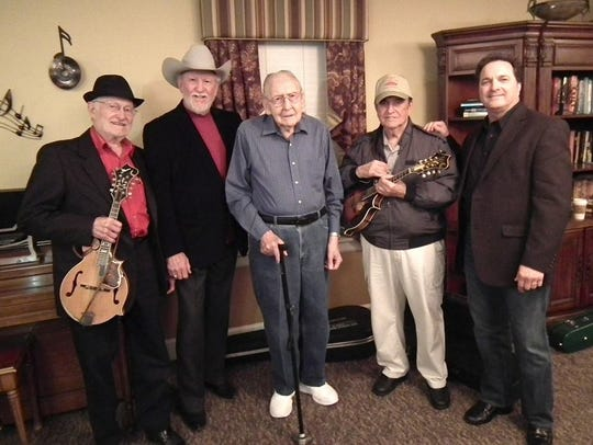 Bluegrass greats Jesse McReynolds, left, Doyle Lawson,
