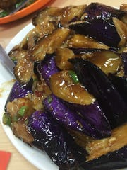 Chinese steamed eggplant at Asian Snack, inside Saraga