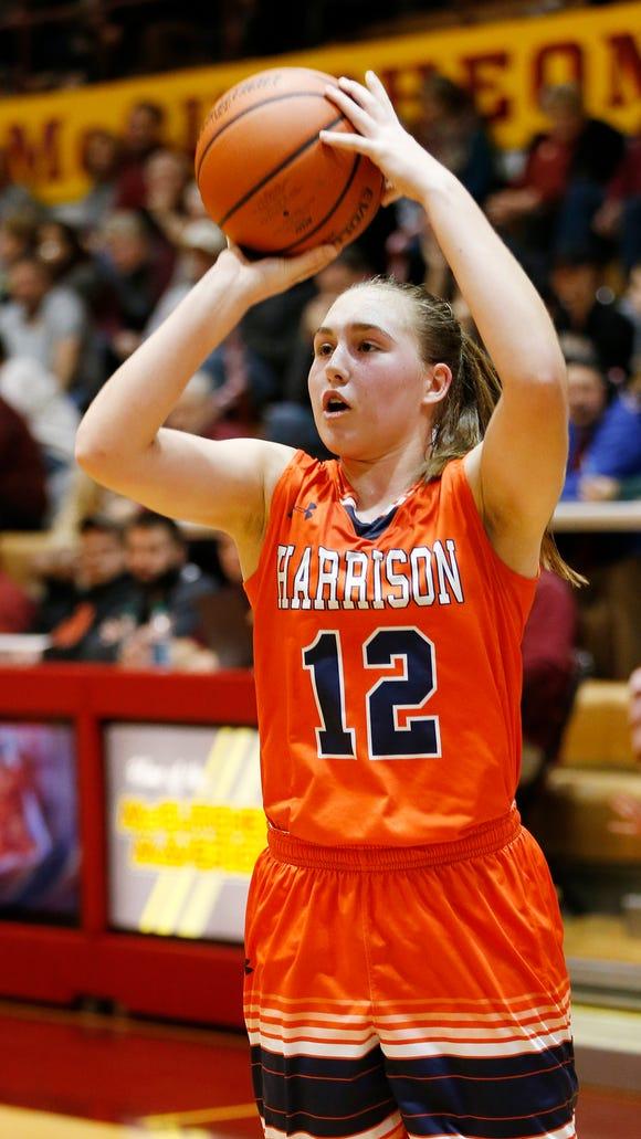 Anna Henderson of Harrison puts up a shot against McCutcheon