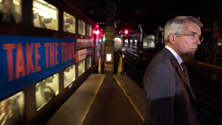 "Amtrak CEO Wick Moorman at ""A Interlocking,"" a junction"