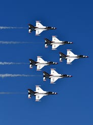 The U.S. Air Force Thunderbirds practiced before the