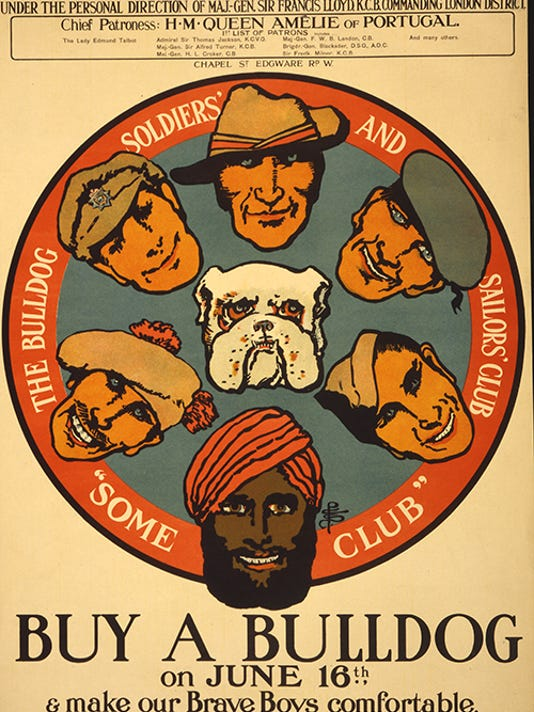 Poster showing a bulldog, and faces of men wearing a variety of military hats. Photo courtesy of Library of Congress.