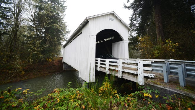 The Mosby Creek Bridge, built in 1920, is near the Row River National Recreation trailhead in Cottage Grove. The trail, a rails-to-trails project, runs 15.6 miles along an abandoned rail line.