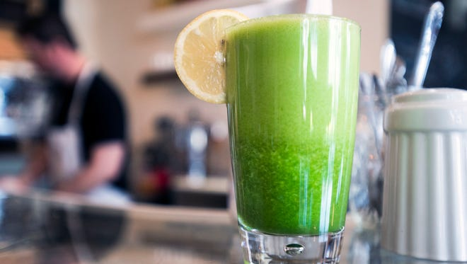 """Nectar's """"Morning After"""" juice features kale, apple, spinach, ginger, lemon juice and pineapple."""