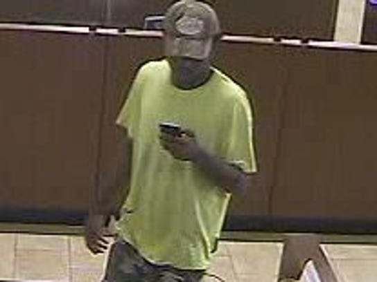 Enhanced photo of the suspect from Friday's bank robbery