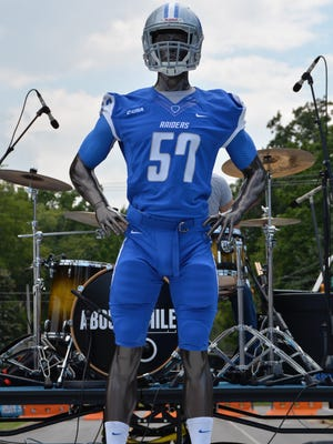 MTSU showed off its three new football uniforms — blue, black and white — at Fan Day.