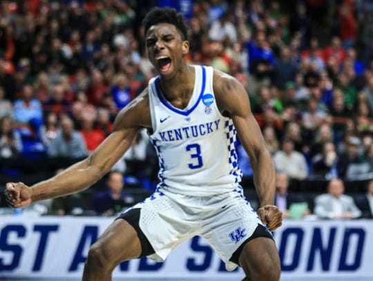 Hamidou Diallo celebrates after a dunk against Buffalo in the NCAA Tournament.