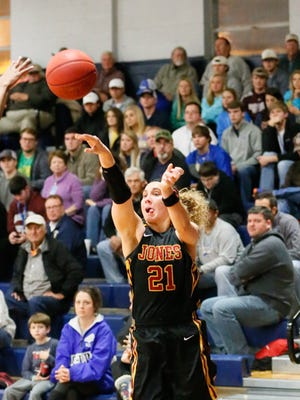 JCJC's Kadie Parker (right) fires up a 3-pointer vs. Co-Lin in the MACJC Tournament semifinals on Wednesday. Co-Lin won the game 76-68 with Parker scoring 18 points – all on 3-point shots.