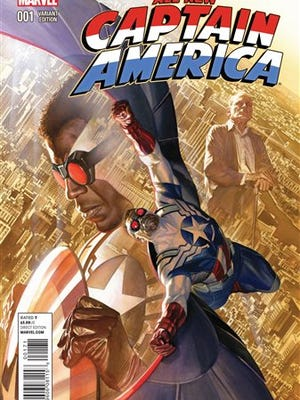 """This comic book cover image released by Marvel shows the """"All-New Captain America."""" Marvel Comics and DC Comics are leading a push for diversity in their industry's mainstream characters. The new black Captain America comic book debuted in November."""
