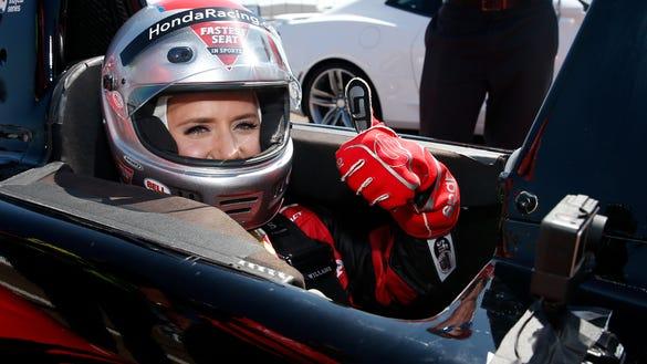 'Bachelor' Arie Luyendyk Jr. took fiancée Lauren for a ride at IndyCar track