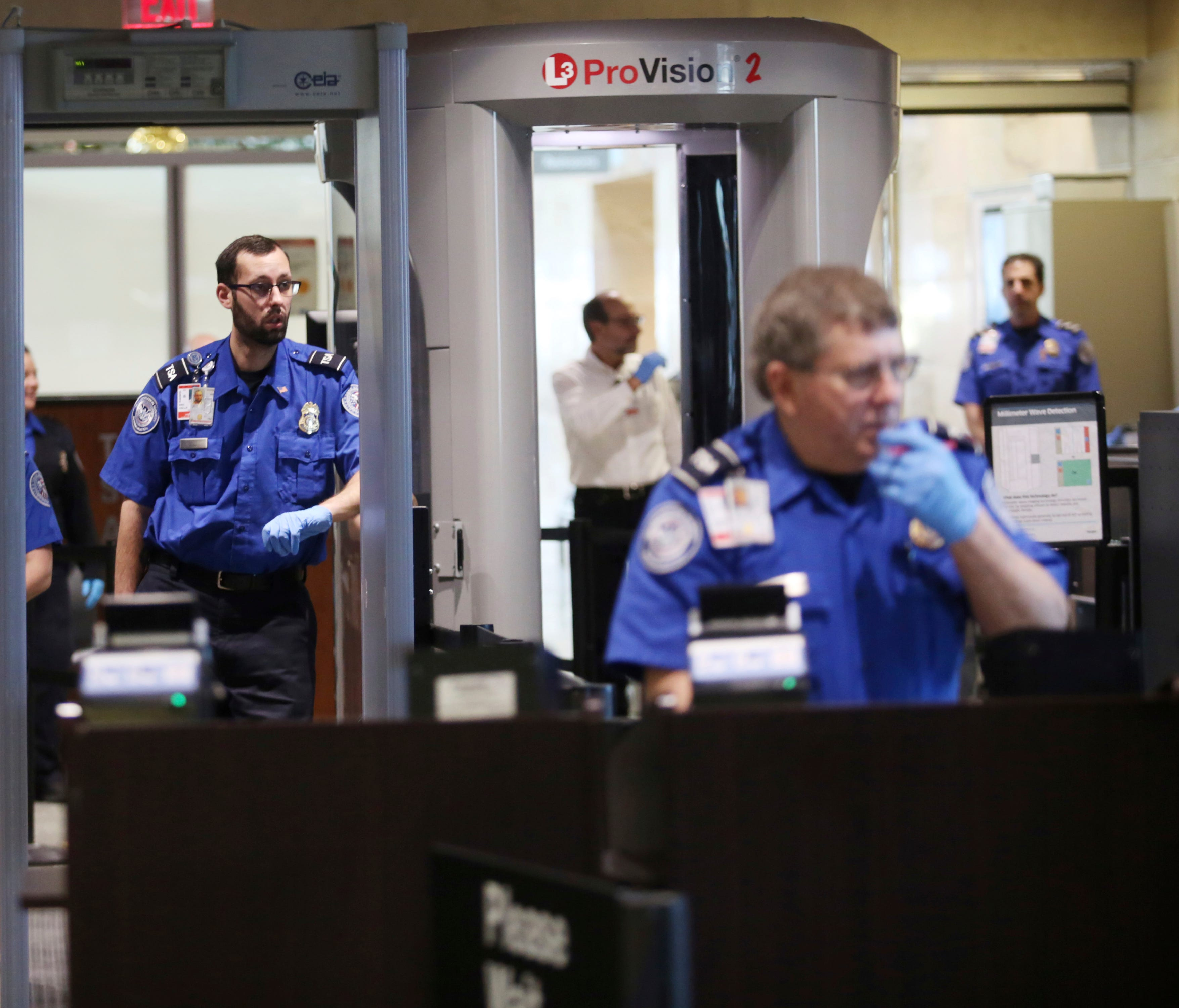 A Transportation Security Administration security check is viewed at Wilkes-Barre/Scranton International Airport in Avoca, Pa., on Jan. 19, 2018.