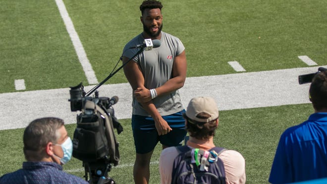 Georgia Southern senior inside linebacker Rashad Byrd is interviewed after the first football practice of the fall on Aug. 7 at Paulson Stadium in Statesboro.