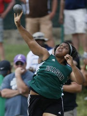 Mason's Amaya King puts the shot in the OHSAA State Finals Track and Field meet at Jesse Owens Memorial Stadium in Columbus, Ohio on Saturday.