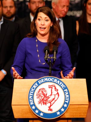 Democrat Secretary of State candidate Alison Lundergan Grimes addresses the crowd during the democratic election night party at the Frankfort Civic Center in Frankfort , Kentucky.       November 3, 2015