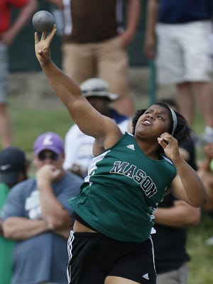 Mason's Amaya King puts the shot in the OHSAA State Finals Track and Field meet at Jesse Owens Memorial Stadium in Columbus on last June 6.