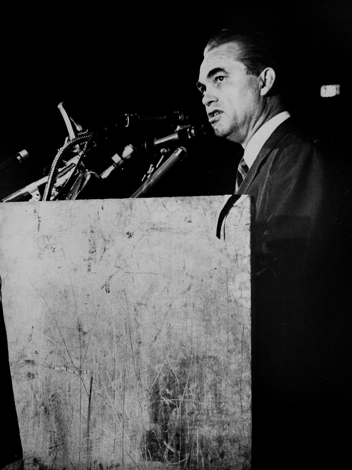 Presidential candidate George Wallace speaks during a rally at Garrett Coliseum in Montgomery, Ala. in September 1968.
