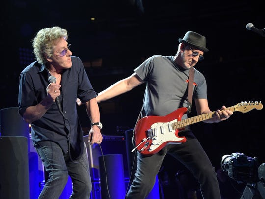 Roger Daltrey and Pete Townshend of The Who in concert
