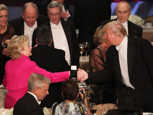 BESTPIX - Donald Trump And Hillary Clinton Attend Alfred E. Smith Memorial Foundation Dinner