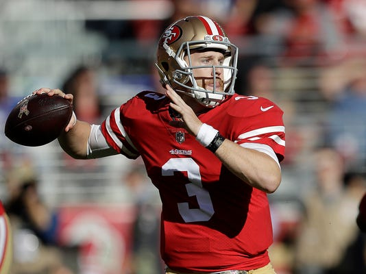 San Francisco 49ers quarterback C.J. Beathard (3) passes against the New York Giants during the first half of an NFL football game in Santa Clara, Calif., Sunday, Nov. 12, 2017. (AP Photo/Marcio Jose Sanchez)