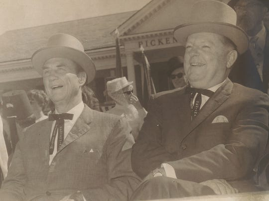 Sen. Strom Thurmond and Congressman W.J. Bryan Dorn, wearing ceremonial headgear watch the Pickens County Centennial parade in October 1968.
