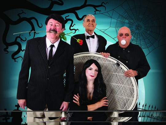 Nils Lindfors poses as Gomez, Floyd Chmelka as Lurch, Dennis Vincent as Uncle Fester and Marilyn Kluge as Morticia of the Addams Family. Kluge  Kluge worked in entertainment and is on the Royal Oaks jukebox singing with the Perry Como Trio.