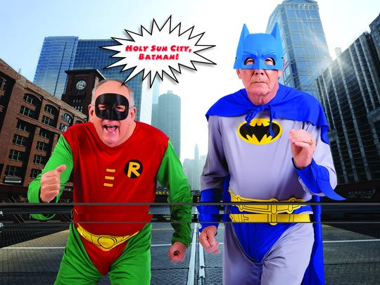 Don Hill as Batman and Sam Borah as Robin. Borah does disaster relief, going out of town often to set up portable kitchens to help people after massive fires, hurricanes or other emergencies.