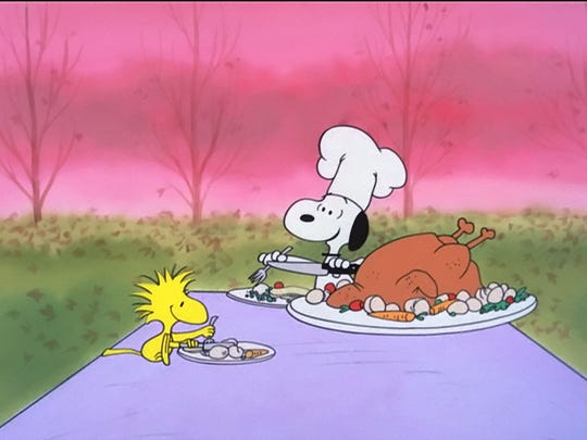 """Snoopy plays chef in """"A Charlie Brown Thanksgiving,"""" released in 1973."""