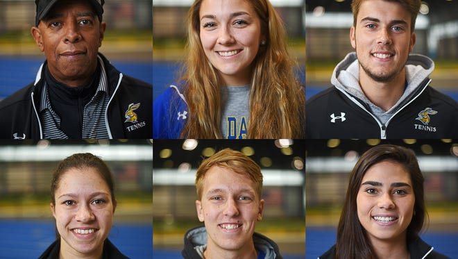Clockwise from top left: Joey  Barnes, head tennis coach; Morgan Brower, of Sioux Falls; Lucas Pereira, of Brazil; Emilly Van Dijk, of Australia; Jonny Higham, of England; and Iasmin Rosa, of Brazil. Photographed Wednesday, April 19, 2017, at the Sanford Jackrabbit Athletic Complex on the South Dakota State University campus in Brookings, S.D.