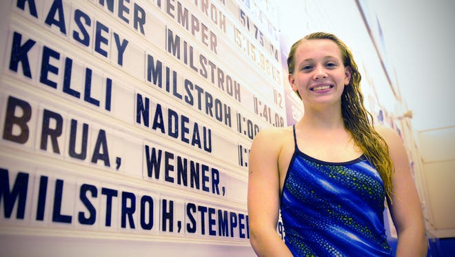 Kasey MilstrohFoley High school swimmer Kasey Milstroch stands next to her times on Sept. 28 at the Foley High School pool.