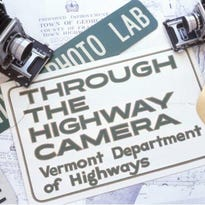An early road sign from the Vermont Department of Highways.
