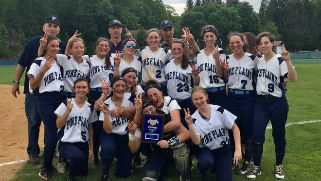 The Pine Plains softball team poses after winning the Section 9 Class C championship at Rhinebeck High School.