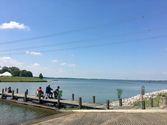 Visitors can fish from a pier or launch their boats at Poverty Point Reservoir State Park in Delhi.