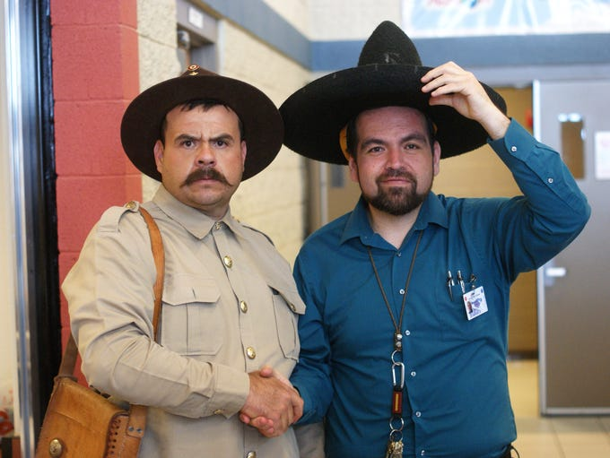 From left, Pancho Villa (as portrayed by Rafael Celestino)