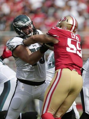 Philadelphia Eagles guard Todd Herremans (79) blocks San Francisco 49ers linebacker Ahmad Brooks (55) during the first half of an NFL football game in Santa Clara, Calif., Sunday, Sept. 28, 2014.